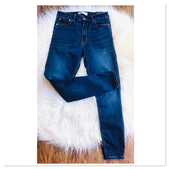 Zara High Waist Skinny Denim Jeans In Deep Blue Women's Size 8